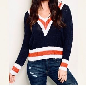 Blakely nautical v-neck cotton knit sweater